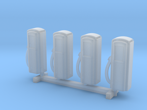 N Scale '50s Gas Pumps 4pc in Smooth Fine Detail Plastic