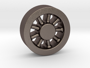 Wheel Casting Pattern, Climax A 1:20.3 Scale in Polished Bronzed Silver Steel