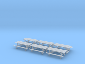 Picnic Tables S Scale X6 in Smooth Fine Detail Plastic