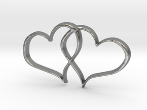 Double Hearts Interlocking Freehand Pendant Charm in Natural Silver