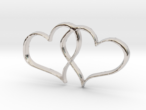 Double Hearts Interlocking Freehand Pendant Charm in Platinum