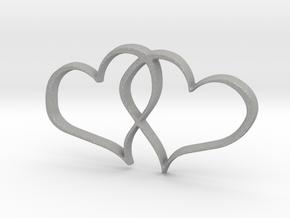 Double Hearts Interlocking Freehand Pendant Charm in Aluminum