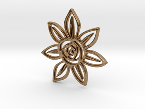 Abstract Rose Flower Pendant Charm in Natural Brass