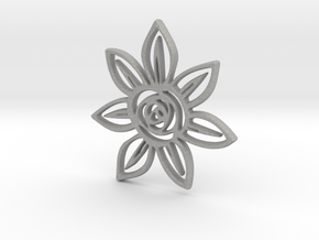 Abstract Rose Flower Pendant Charm in Aluminum