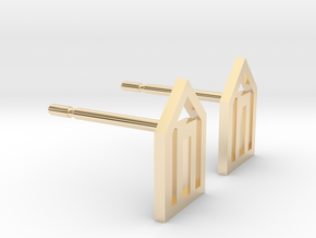 Tiny House Geometric Earrings - Small in 14K Yellow Gold