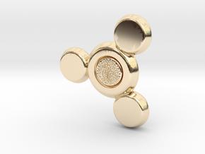 Fidget Spinner Tri Blade in 14k Gold Plated Brass