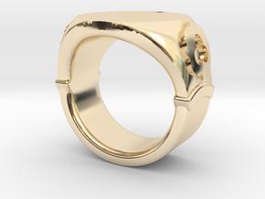 Seal Ring Trefoil - embossed in 14k Gold Plated Brass: 5.5 / 50.25