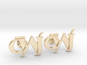 Monogram Cufflinks CJW in 14k Gold Plated Brass