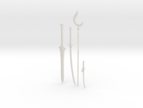 """BotW"" Sheikah Weapons Set in White Natural Versatile Plastic: 1:12"