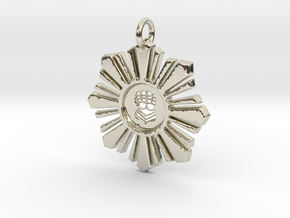 Silver Hand Medallion in 14k White Gold