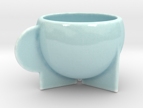 Kop P in Gloss Celadon Green Porcelain