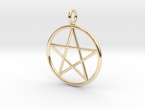 Simple pentagram necklace in 14K Yellow Gold