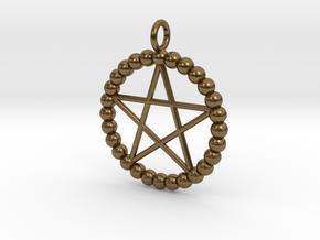 Beads pentagram necklace in Natural Bronze
