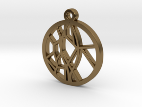 Voronoi Teak Leaf Charm in Polished Bronze