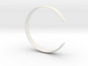 Curved Bangle Small A in White Natural Versatile Plastic