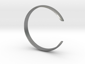 Curved Bangle Small A in Natural Silver