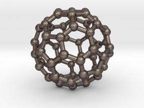 Buckyball C60 Molecule Model. 3 Sizes. in Polished Bronzed Silver Steel: Small
