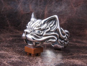 Fu Cat (Komaneko) Ring in Polished Silver: 11 / 64