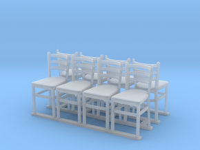 Wooden chairs  7. O Scale (1:48) in Smooth Fine Detail Plastic