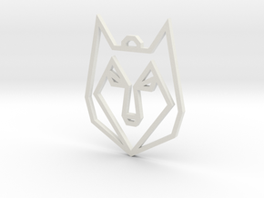 Geometric Wolf Pendant in White Natural Versatile Plastic