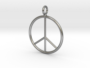 Peace symbol necklace in Natural Silver