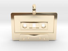 Cassette Tape Pendant in 14K Yellow Gold