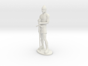 Human Fighter Miniature in White Natural Versatile Plastic: 1:55
