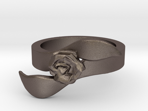 Rose Ring - Size 7 in Polished Bronzed Silver Steel: 7 / 54