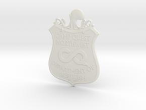 CQNW Badge in White Natural Versatile Plastic