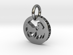 FREEDOM (precious metal pendant) in Fine Detail Polished Silver