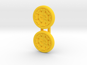 Dwemer spinner caps - Screw type, Standard in Yellow Processed Versatile Plastic