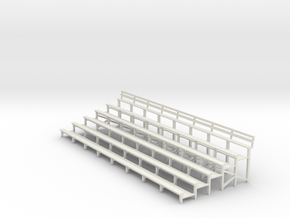 Bleachers 1-43 Scale With Back Rest in White Strong & Flexible