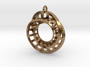 Statement Interlocking Möbius Ladders Pendant in Natural Brass (Interlocking Parts)