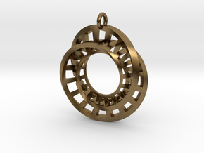 Statement Interlocking Möbius Ladders Pendant in Natural Bronze (Interlocking Parts)