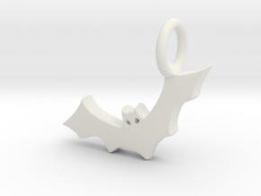 Bat Charm in White Natural Versatile Plastic