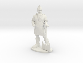 Dwarf Fighter Miniature in White Natural Versatile Plastic: 1:55