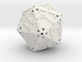 Vertex RPG D20 Hollow 55mm in White Natural Versatile Plastic