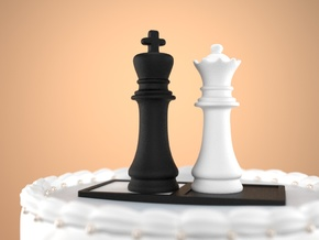 Chess Cake Topper (King and Queen) Black&White in Full Color Sandstone: Small