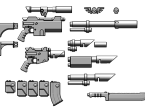 1:6 Scale Imperial Sci-Fi Rifle Variants Kit in White Natural Versatile Plastic