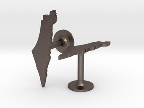 Israel Cufflinks in Polished Bronzed Silver Steel