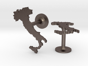 Italy Cufflinks in Polished Bronzed Silver Steel