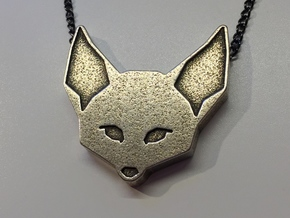 Fennec Fox Geometric Pendant in Polished Bronzed Silver Steel: Large
