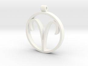 Aries Zodiac Sign Pendant in White Strong & Flexible Polished