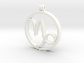 Capricorn Zodiac Sign Pendant in White Strong & Flexible Polished