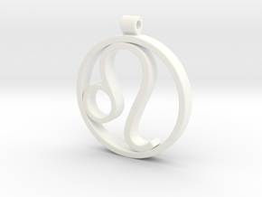 Leo Zodiac Sign Pendant in White Processed Versatile Plastic