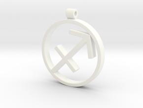 Sagitarius Zodiac Sign Pendant in White Processed Versatile Plastic