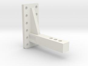 SCX10II Pintle Hook Reciever Adapter Mega Drop in White Strong & Flexible