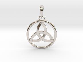 Pendant Amulet Triquetra Celtic Trinity Knot in Platinum