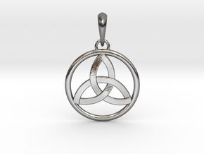 Pendant Amulet Triquetra Celtic Trinity Knot in Interlocking Polished Silver