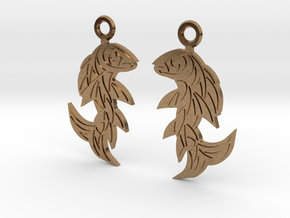 Shard Fish Earrings in Natural Brass: Medium